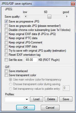 настройки сжатия JPEG