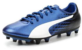 Бутсы синие мужские с пластиковыми шипами evoSPEED 17.5 FG Puma
