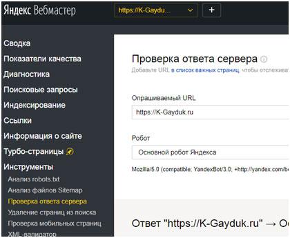 проверка ответа сервера в Вебмастере