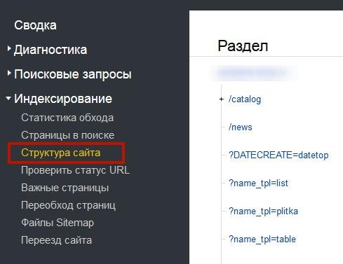 Яндекс.Вебмастер - структура сайта